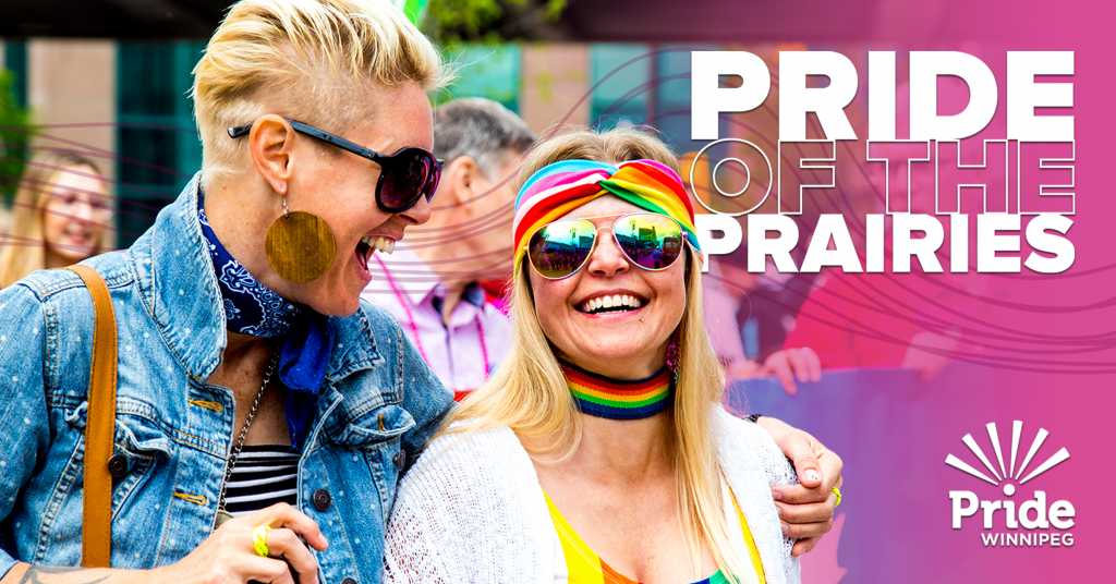 Pride Winnipeg branded image, including two people smiling, the tagline Pride of the Prairies, and the logo