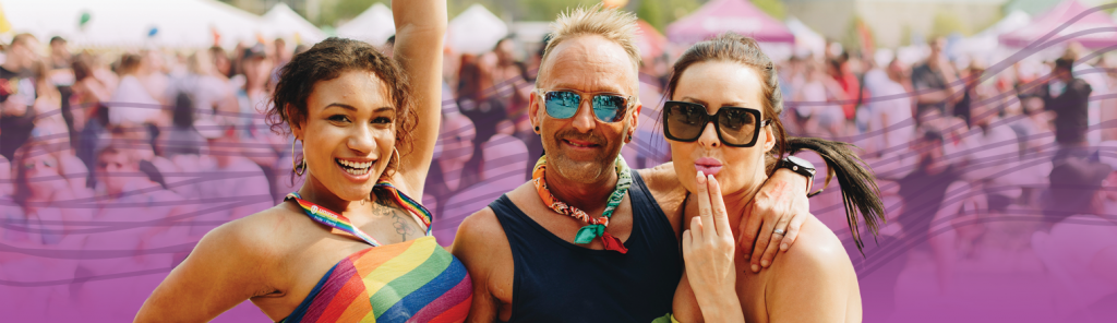 Three people at Pride Festival. Purple gradient and spectrum are applied behind them