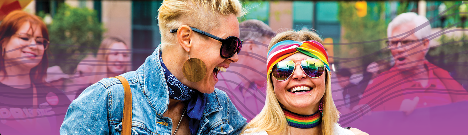 Two people at the Pride Parade. Purple gradient and spectrum are applied behind them