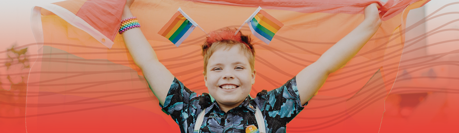 Person at the Pride Festival. Red gradient and spectrum are applied behind them