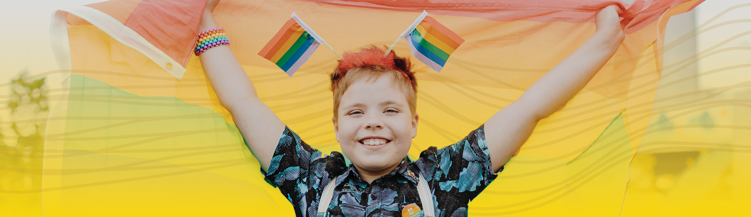 Person at the Pride Festival. Yellow gradient and spectrum are applied behind them
