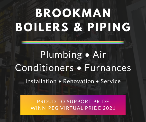 Brookman Boilers and Piping ad, with list of services and support message