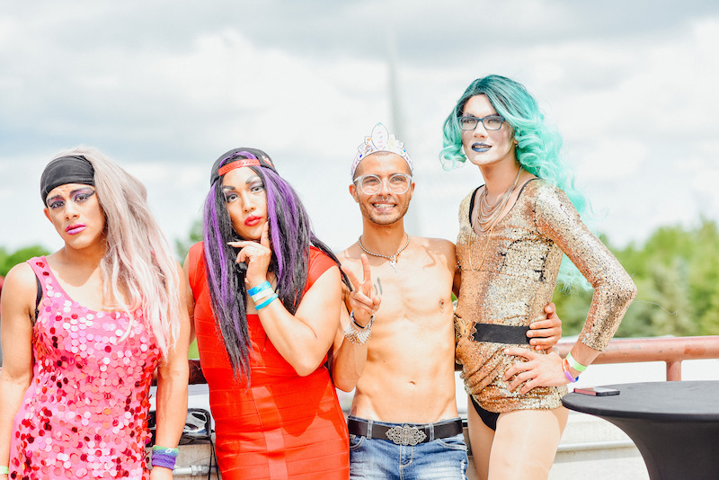 four people at pride festival