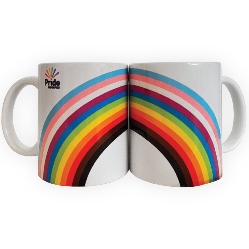two mugs together forming a rainbow