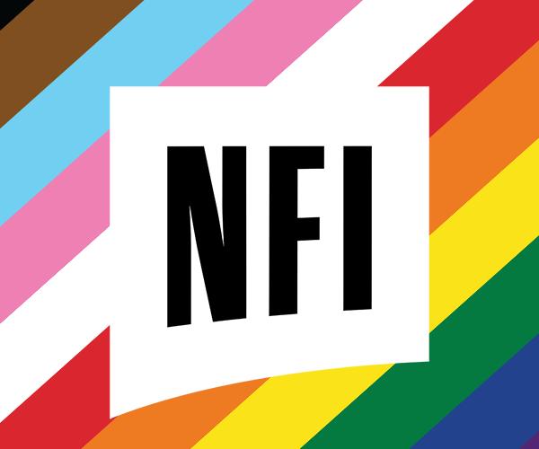 nfi group ad including a progress flag rainbow on the background