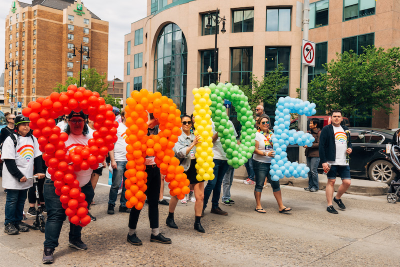 group of people in the pride parade