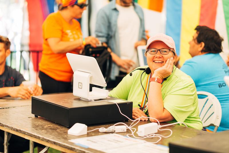 volunteer in the information tent