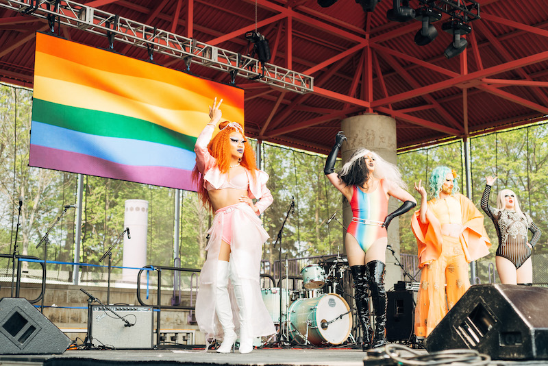 four drag queens on the pride stage