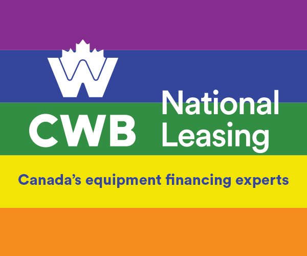 CWB logo. Pride flag on the background. Ad says: Canada's equipment financing experts