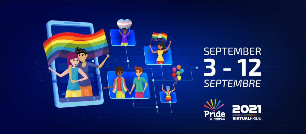 Virtual Pride 2021 characters and the date of the event: September 3 to 12 2021