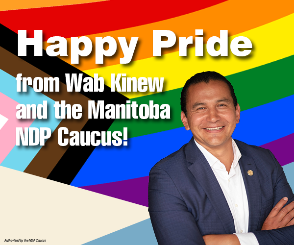 NDP ad featuring Wab Kinew on a progress flag background