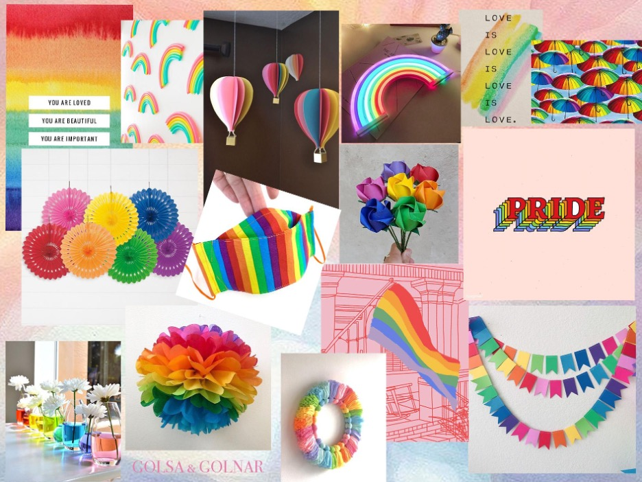 mood board with lost of pride-related DIY ideas